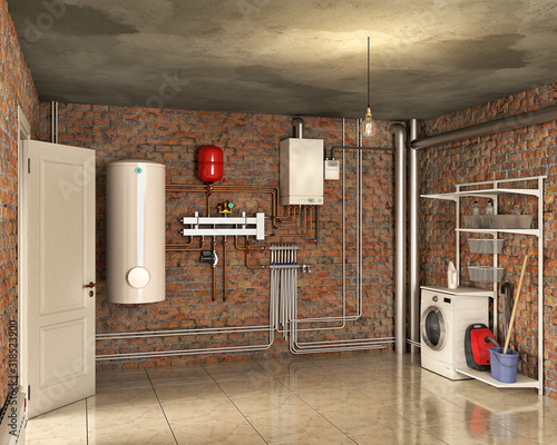 Photo Boiler system and laundry in a basement interior, 3d illustration