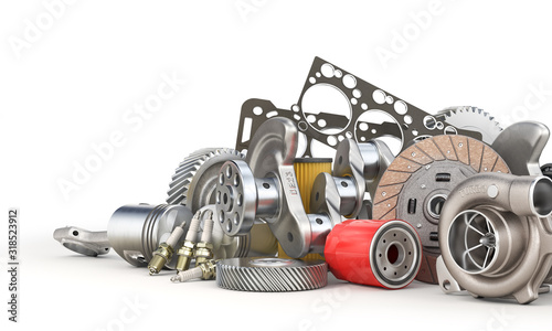 Fototapeta Pile of auto parts isolated on a white background. 3d illustration obraz