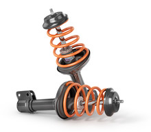 Shock Absorber Isolated On A White Background. 3d Illustration