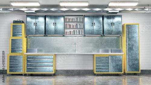 Obraz Garage metal tool cabinet. 3d illustration - fototapety do salonu