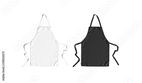 Foto Blank black and white apron with strap mockup, top view