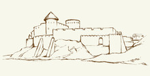 Ancient City On Rock. Vector D...