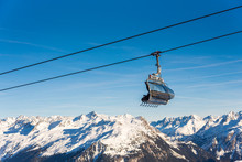 Ski Cable Lift In The Alps. Au...