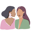 Illustration of two beautiful women staying together. Soft pastel design. Women's sisterhood concept