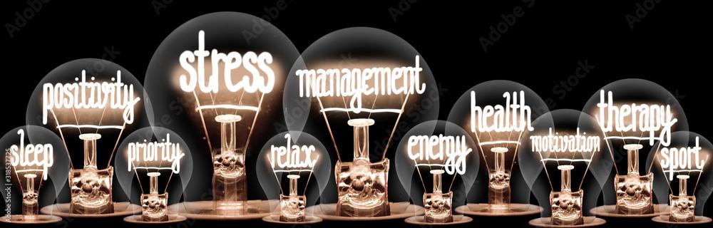 Fototapeta Light Bulbs with Stress Management Concept