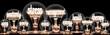 Leinwanddruck Bild - Light Bulbs with Stress Management Concept