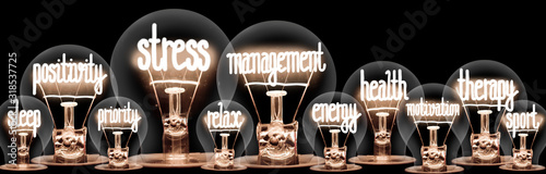 Obraz Light Bulbs with Stress Management Concept - fototapety do salonu