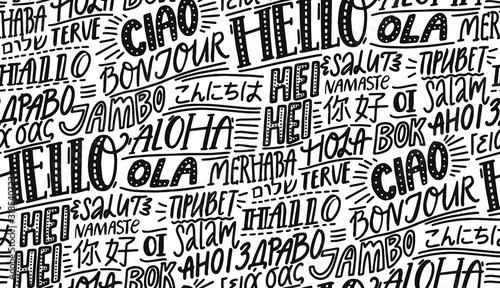 Hello in different languages Fotobehang