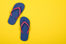 Pink And Blue Flip Flops On A ...
