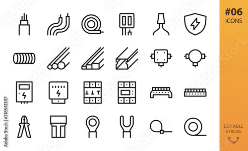 Photo Electricity icons set