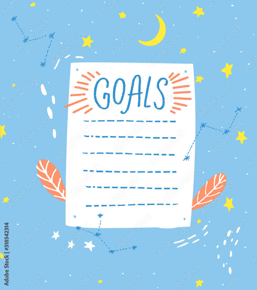 Fototapeta Goals list, blank template, hand drawn style. One paper sheet with cute hand drawn stars and moon decorations, journal page.