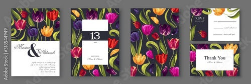 Photo Botanical wedding invitation card template design, with multi-colored tulips flowers leaves and petals