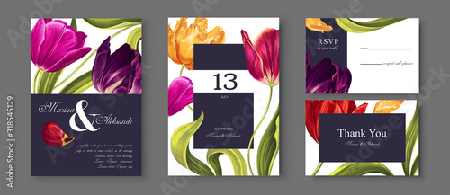 Fototapeta Tulips flowers, leaves and petals wedding save the date, Invitation floral cards collection realistic hand drawn vector botanical elements.Trendy cover, graphic poster, retro brochure, design template obraz