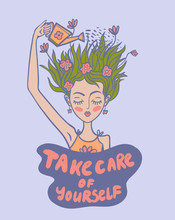 Girl Watering Her Head With A Watering Can, Take Care Of Yourself , Vector Illustration,