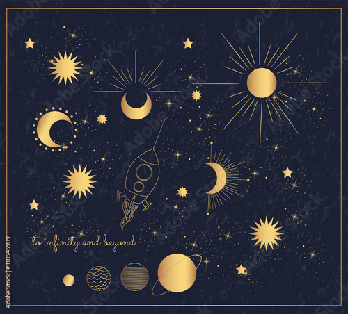 Photo Golden rocket flies among the planets, sun and stars