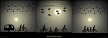 Set Of Vector Illustration With Silhouettes Of People On Road Trip On Moonlit Night. Family On Bikes Under Shoes On Wires. Lovers On Bike Tandem Under Birds On Wires. Full Moon In Starry Sky