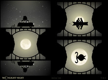 Set Of Vector Illustration With Silhouettes Of People And Bridge On Moonlit Night. Woman And Dog Traveling In Retro Car. Lovers In Boat Under Bridge. Swan On Lake. Full Moon In Starry Sky