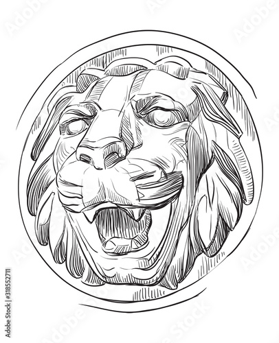 Vector stone head of lion Canvas-taulu