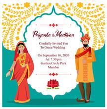 Indian Hindu Wedding Card Invitation Design Template Vector