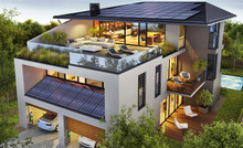 Luxurious House With A Rooftop Terrace And Solar Panels. Low Energy Home And Electric Car