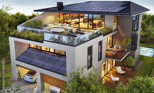 Fotografia Luxurious house with a rooftop terrace and solar panels