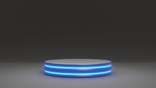 3D Rendering Product Stand Pedestral Podium Platform Stage In Studio. Modern Black And Blue Shade Emission. Abstract Minimal Product Showcase Presentation Template Exhibition Advertising Event Scene