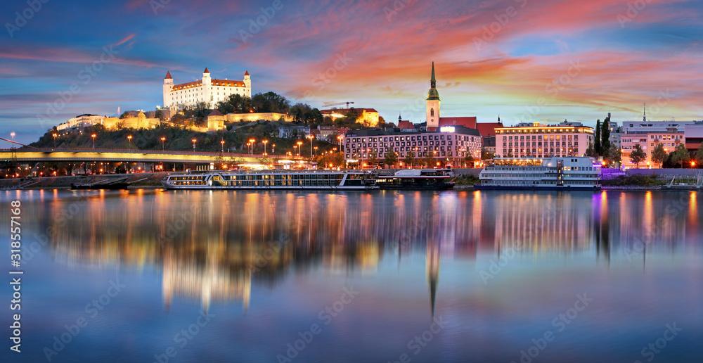Fototapeta Sunset in Bratislava with danube river, Slovakia