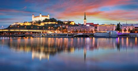Sunset in Bratislava with danube river, Slovakia