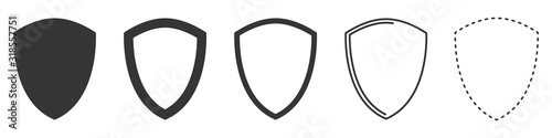 Shield vector icons. Set of black shields. Canvas Print