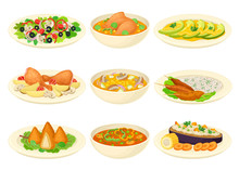 Brazilian Dishes Or Main Courses Served On Plates Side View Vector Illustrations Set