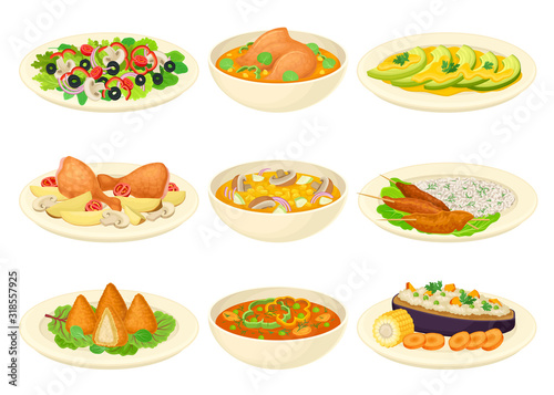 Brazilian Dishes or Main Courses Served on Plates Side View Vector Illustrations Fototapet