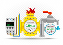 Electric Gas Water Meter Icons...