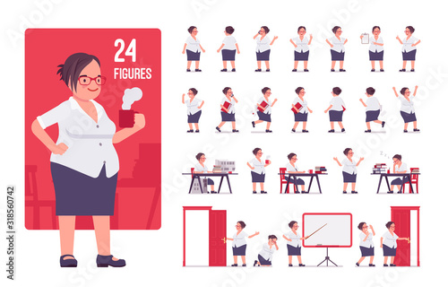 Fototapeta Fat female clerk, formal wear character set. Heavy middle age business woman, office manager, civil service worker, typical employee, plus size. Full length, different view, gestures, emotions, poses obraz