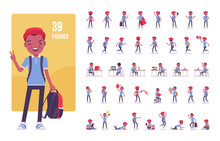 Black School Boy In Casual Wear Character Set. Cute Small Guy With Rucksack, Active Young Kid, Smart Elementary Pupil In Study And Entertainment. Full Length, Different View, Gestures, Emotions, Poses
