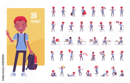 Fototapeta Black school boy in casual wear character set. Cute small guy with rucksack, active young kid, smart elementary pupil in study and entertainment. Full length, different view, gestures, emotions, poses obraz