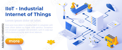 INDUSTRIAL INTERNET OF THINGS IIoT - Isometric Design in Trendy Colors Isometrical Icons of Various Electronic and Industrial Devices on Blue Background. Banner Layout Template for Website Development #318561552