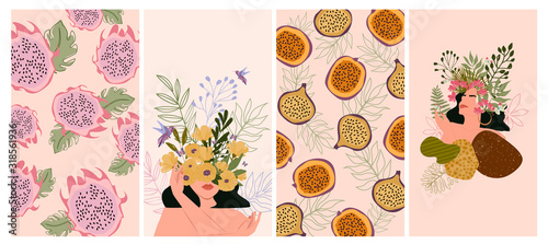 Set of various abstract vertical background for mobile app and social media content with fruit, tropical plants and paradise woman portrait in minimalistic style. Vector illustration - 318561936
