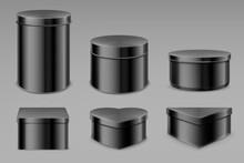 Black Tin Boxes Set, Blank Jar...