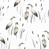 Herons in oriental style with cattails, wildlife illustration, seamless pattern. Vector print in vintage watercolor style. - 318579163