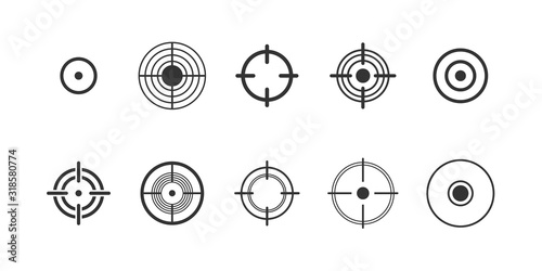 Fotomural Target, pain circle vector glyph icons set