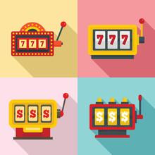 Slot Machine Icons Set. Flat Set Of Slot Machine Vector Icons For Web Design