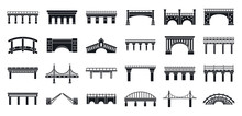 Road Bridges Icons Set. Simple Set Of Road Bridges Vector Icons For Web Design On White Background