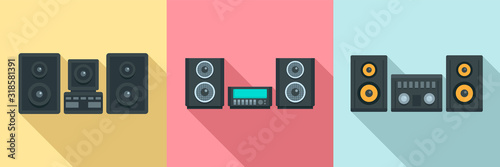 Fotomural Stereo system icons set