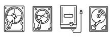 Compact Hard Disk Icons Set. O...