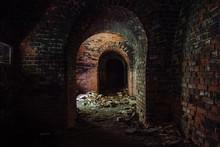 Dark Corridor In Old Abandoned...