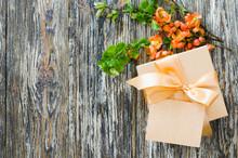 Gift Box With Bow Ribbon, Blan...