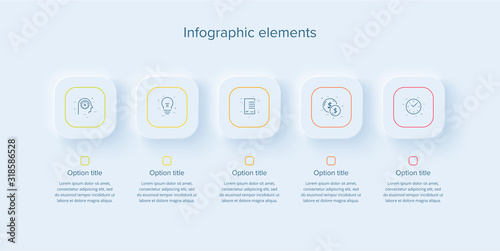 Fototapeta Business process chart infographics with 5 steps in neumorphism design