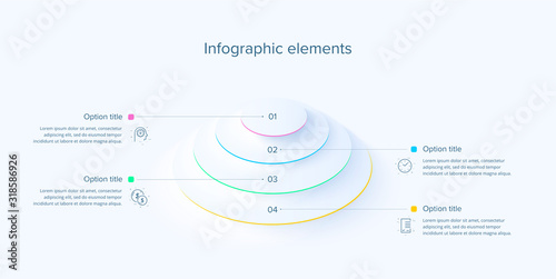 Fotografie, Obraz Business process chart infographics with 4 steps in neumorphism design