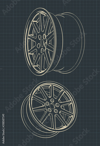 Car alloy wheels drawings Wallpaper Mural