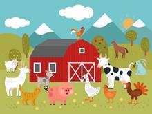 Cartoon Farm. Goat, Cat And Pi...